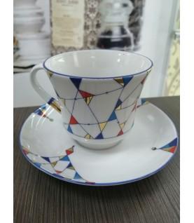 Чашка с блюдцем чайная форма Банкетная рисунок Калейдоскоп